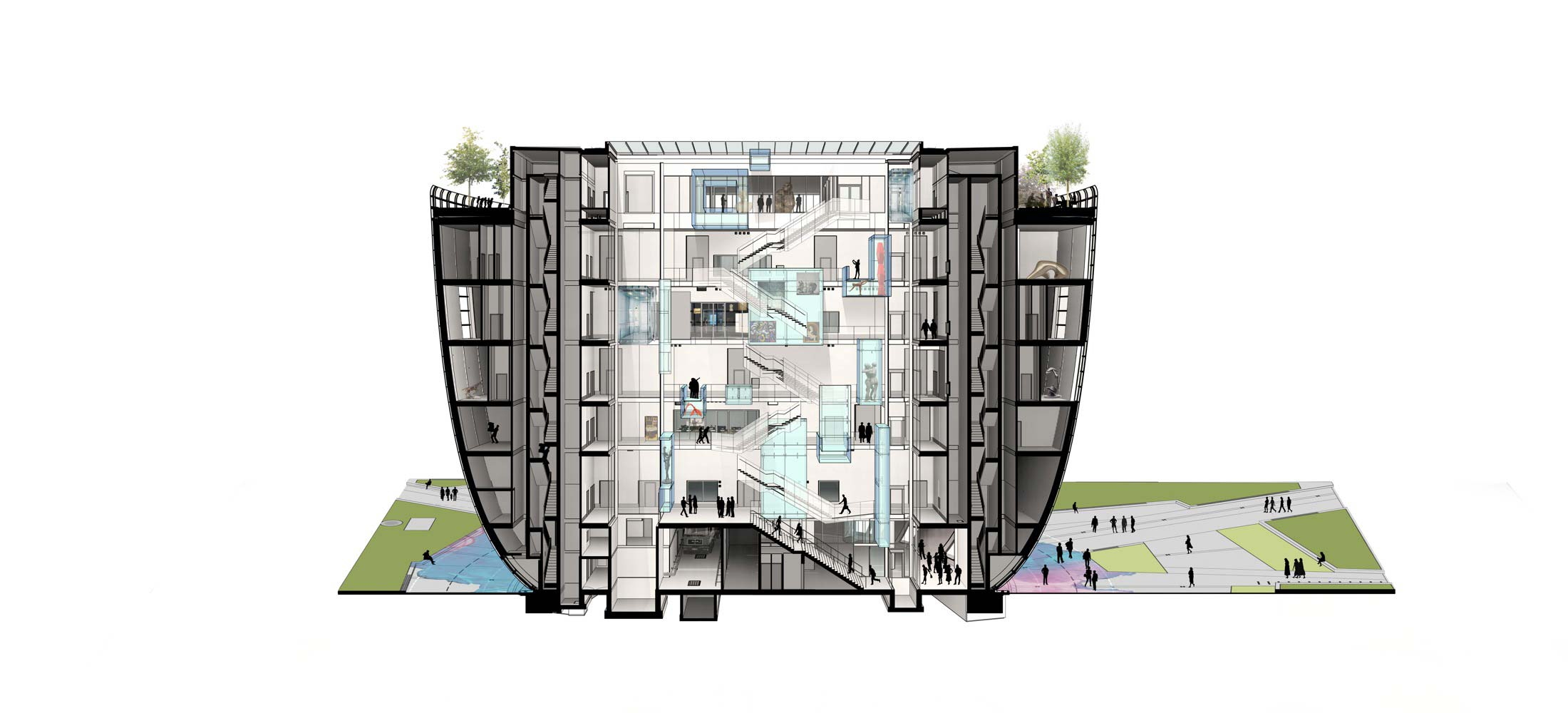 Van Diemen voor Boijmans-depot-atrium-cross-section-AA