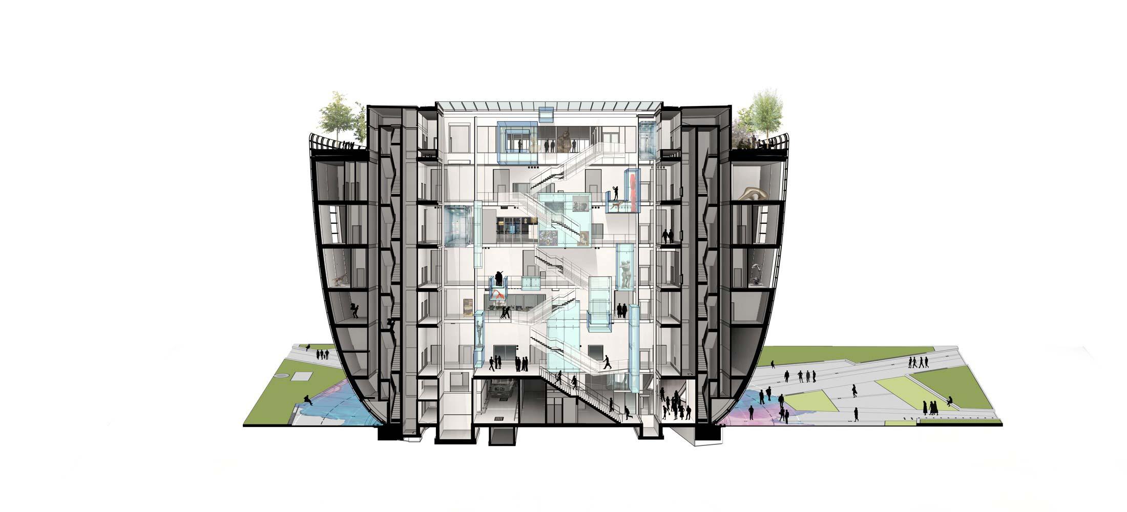 The MAZE in the heart of DEPOT Boijmans van Beuningen-cross-section